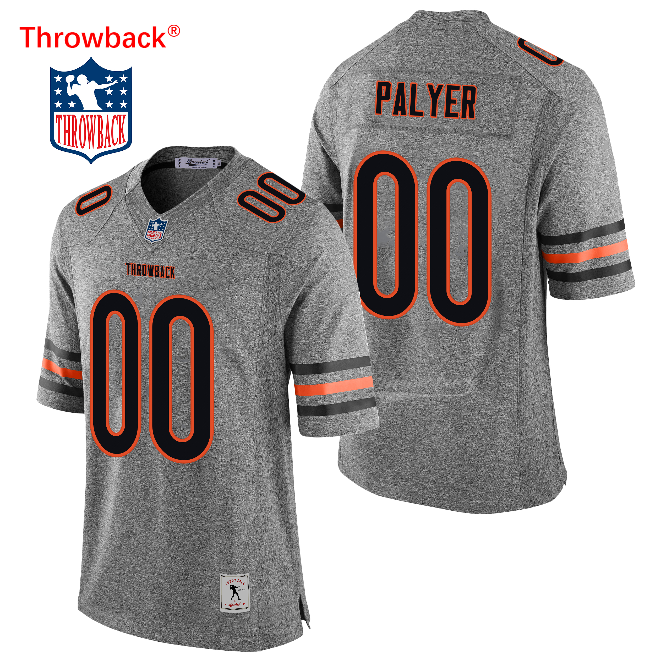 Throwback Jersey Men's Chicago Custom American Football Jerseys Colour Gray Blue Wholesale Size S-4XL image