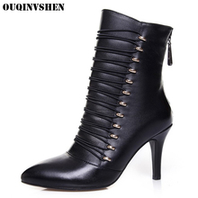 OUQINVSHEN Pointed Toe Thin Heels Women Boots 2017 Winter Women's Ankle Boots Rivet Elastic band Super High Heels Ladies Boots