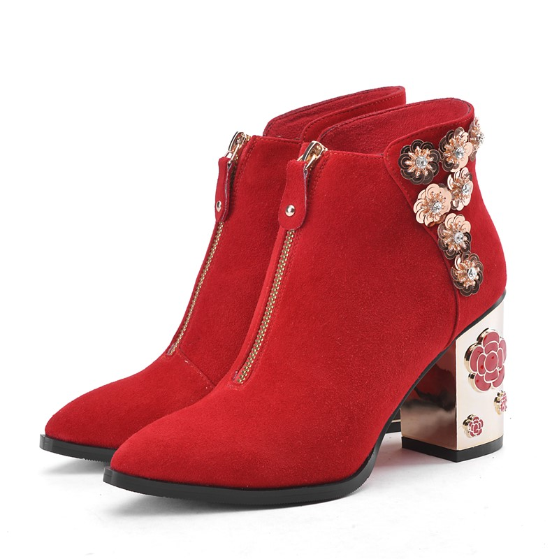 ФОТО Strange Style Flowers Nubuck Leather red bottom sole high heels boot Ankle boots ladies women shoes woman casual shoes