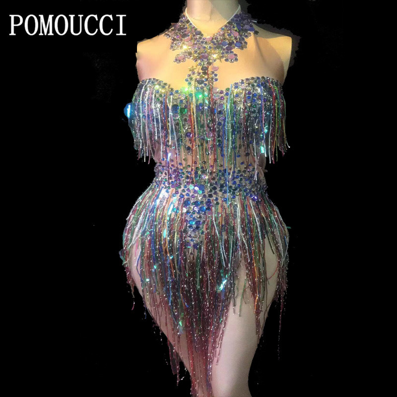 2019 New Women Multicolor Tassel Sexy Bodysuit Party Bar Stage Outfits Nightclub DJ Singer Performance Costume