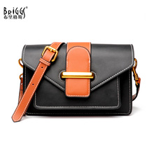 BRIGGS Brand Cow Genuine Leather Bags Elegant Small Shoulder Messenger Bag Designer Flap Crossbody Bags For Women 2018