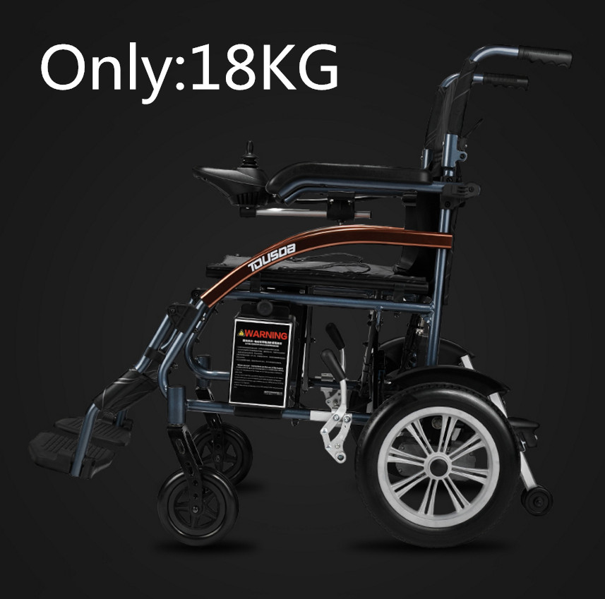 Livraison gratuite Bon prix super léger pliage fauteuil roulant électrique avec batterie au lithium