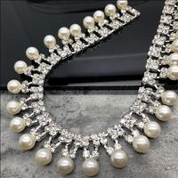 1yds Pearl Fringe Pendant Crystal Rhinestone Chain Lace Trim For Sewing Costume Bridal Wedding Dress Collar Applique Accessories