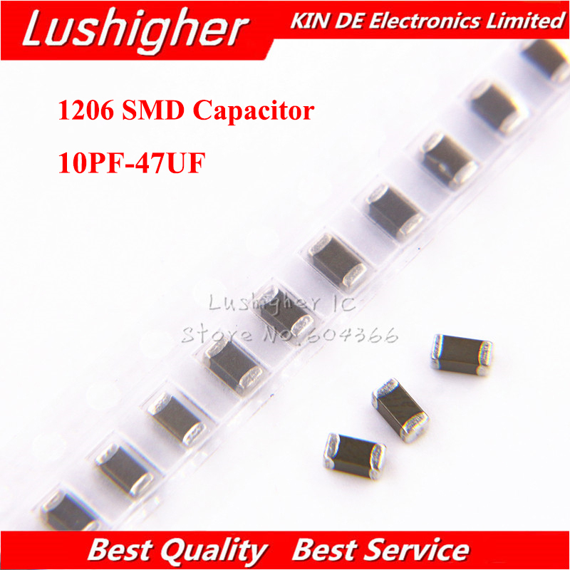 100pcs 1206 <font><b>SMD</b></font> 1PF-100UF 250V X7R Error 10% 10pF 100pF 470pF <font><b>100nF</b></font> 220nF 1UF 10uf 47UF 2.2UF 22UF Multilayer Ceramic Capacitor image