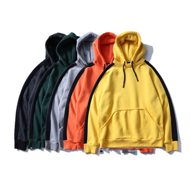 Aolamegs Hoodies Men Side Striped Thick Hood High Street Pullover Cotton Fashion Hip Hop Streetwear Casual Pocket Hoodie Autumn