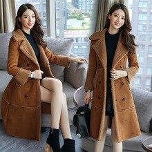 2fbb821a47 autumn winter warm fur collar women jacket Casual Brand quality fashion  solid lambswool women s long coats