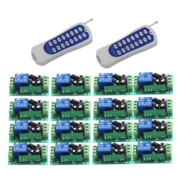 DC 12V 10A relay 1CH wireless RF Remote Control Switch 2 Transmitter+ 16 Receiver FOR LED LIGHT SKU: 5442 24v 1ch rf wireless remote switch wireless light lamp led switch receiver