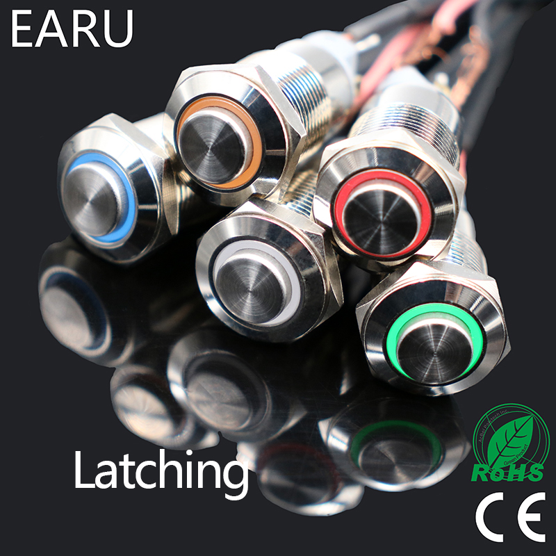 1pcs 12mm Waterproof Latching Maintained High Round Stainless Steel Metal Push Button Switch Light Shine Car Horn Auto Lock стоимость
