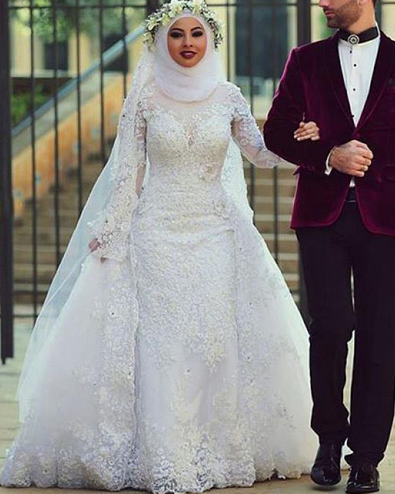 Hot Sale Custom Made Gorgeous Appliques Beading Full Sleeve High Neckline Arabian Islamic Wedding Dress Girl AliExpress Sign DHL In Dresses From