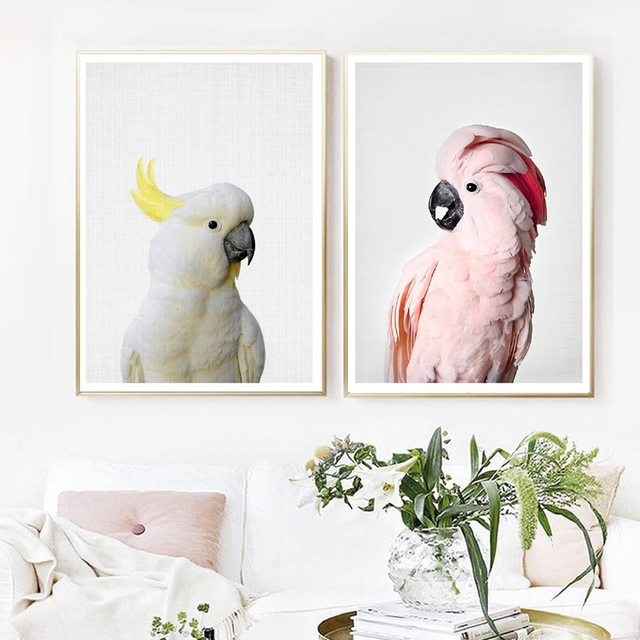 Pink Cockatoo Bird Art Canvas Painting Wall Pictures , Animal Parrot Photography Canvas Art Prints And Poster Home Room Decor
