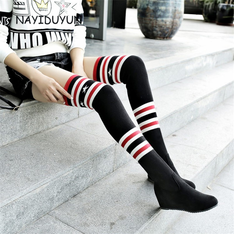 NAYIDUYUN Fashion Over The Knee Women Stretch Long Boots Wedge Knit Stocking Thigh High Boots High Heels Round Toe Black Color