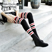NAYIDUYUN Fashion Over The Knee Women Stretch Long Boots Wedge Knit Stocking Thigh High Heels Round Toe Black Color