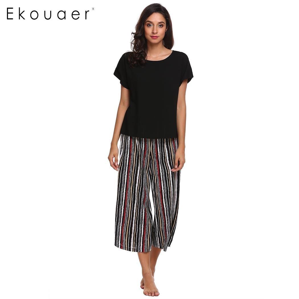 Ekouaer Women Casual Sleepwear Pajama Set Short Sleeve T-shirt & Loose Striped Pants Pajamas Set Nighties Female Home Clothing