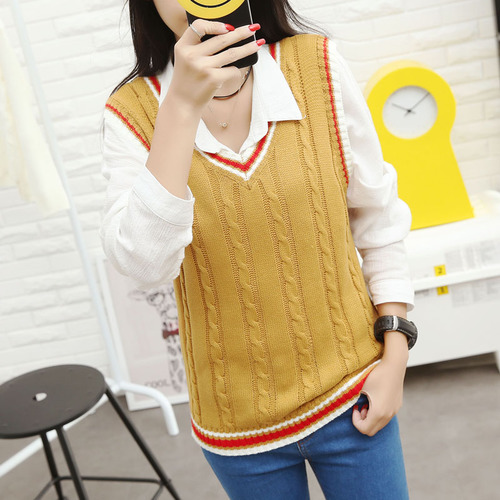 Autumn 2019 Women Korean Preppy Style Vintage Striped V Neck - Women's Clothing - Photo 5
