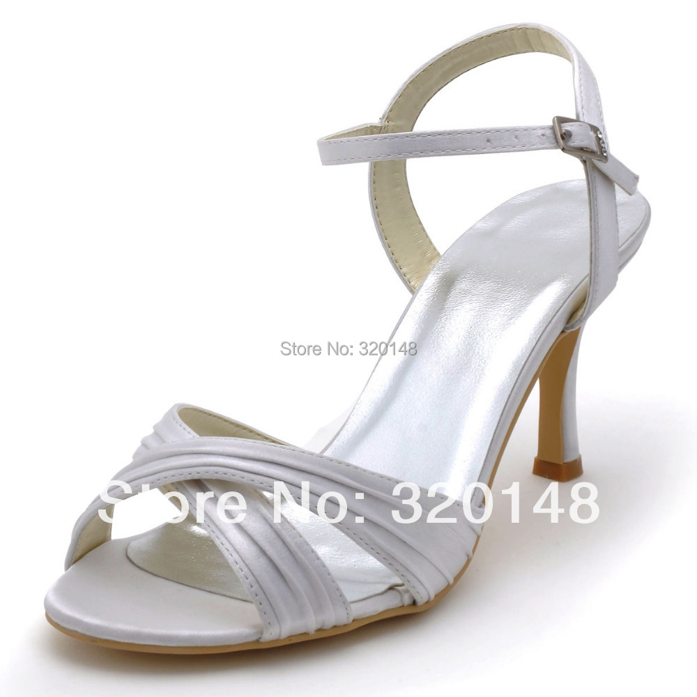 Summer Sexy Women Sandals Shoes EP2122 White Open Toe Cross Straps Ankle Strap Thin Heels Satin