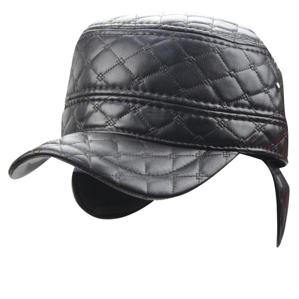 3c6b13897b1 Detail Feedback Questions about Mens Winter Quilting Plaid Skiing Trapper  PU Leather Fleece Military Cadet Army Flat Top Baseball Cap Hat with  Folding ...