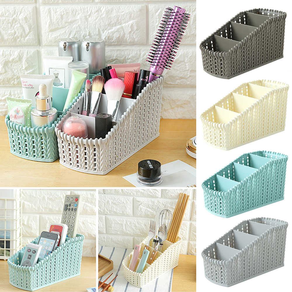 Plastic  Makeup Organizer Box  Cosmetics Storage Container Imitation Rattan Baskets Desktop Sundries Makeup Boxe For Bathroom 7