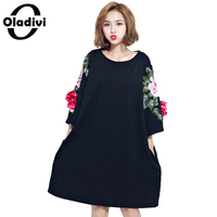Oladivi 2017 New Arrival Spring Summer Flower Embroidered Dress Women Cotton O Neck Fashion Party Dresses