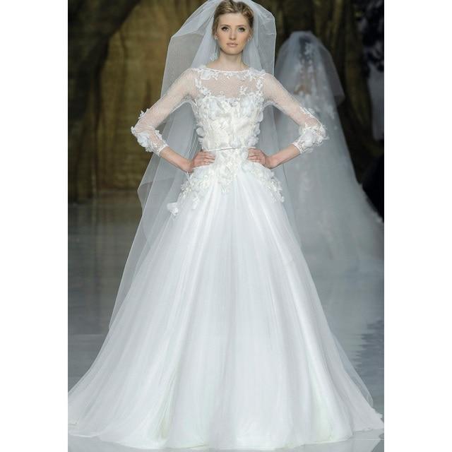 Romance 2017 Long Sleeve Lace Zuhair Murad Wedding Dresses Ivory ...