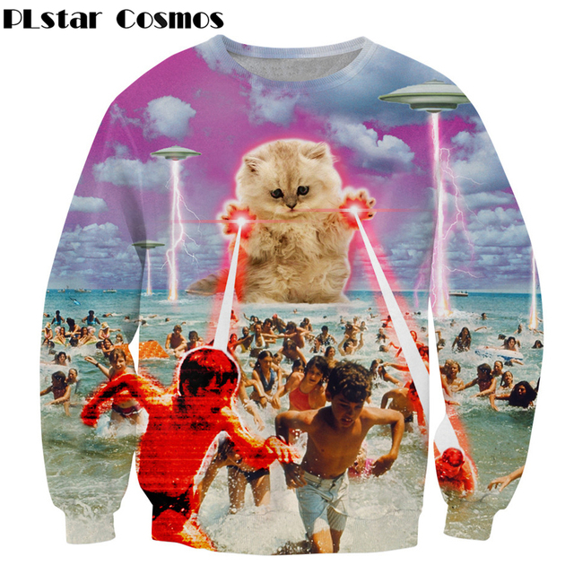 b42dfe47d518 hot sell for men women brand clothing outwear Kitten laser Cats 3D print  Sweatshirt lightning beach graphic Long sleeve pullover
