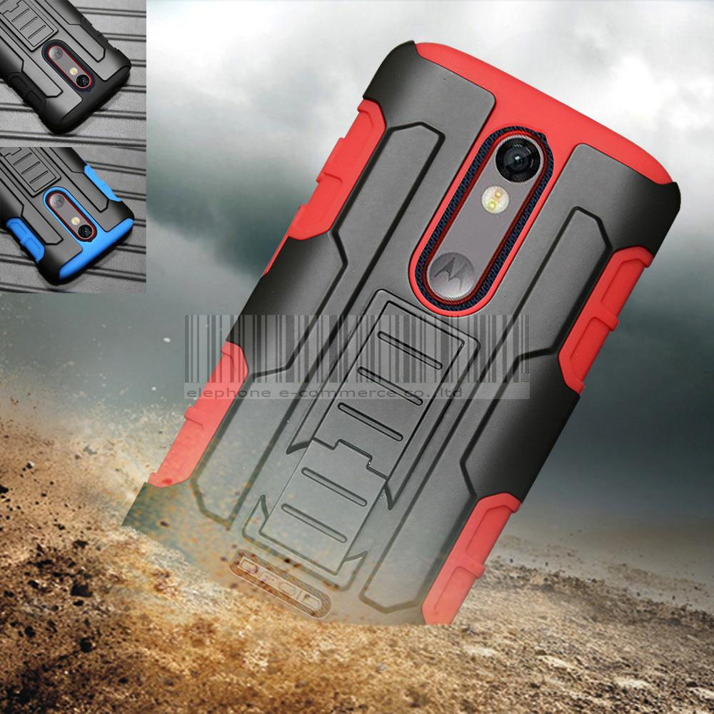 För Motorola Moto X kraft / Droid Turbo 2 / X Style / Z Play / G4 / G5 Plus / E3 Heavy Duty Armor Impact Hard Case Cover + Holster Belt Clip