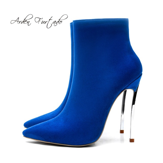 5d24c703d14 Arden Furtado 2018 shoes woman party stilettos sexy high heels 12cm zipper  red blue ankle boots pointed toe woman metal heels