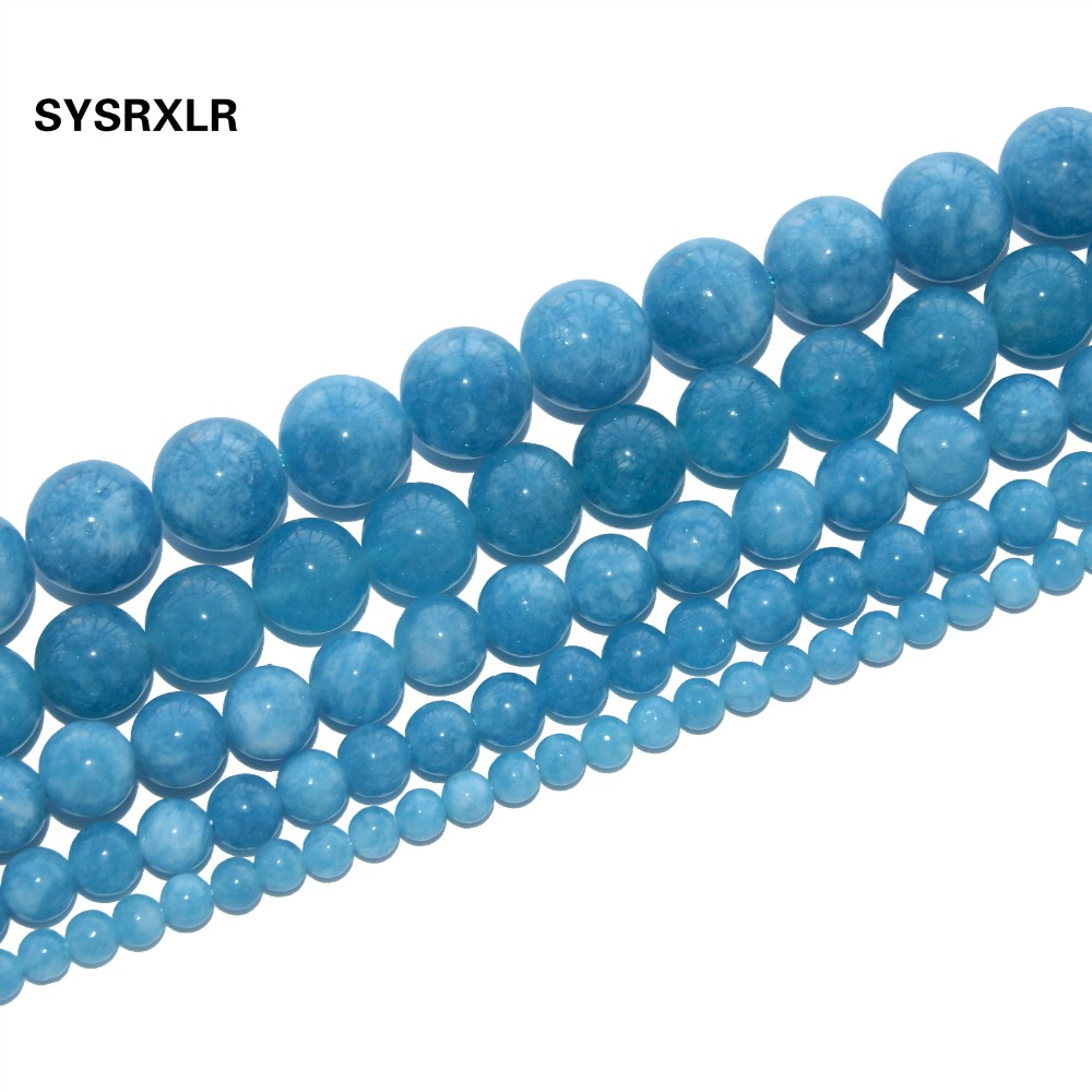 Free Shipping Natural Stone Beads Round Blue Angelite Beads For Jewelry Making Diy Bracelet Necklace 4/6/8/10/12 Mm Strand 15 High Quality And Low Overhead Beads Beads & Jewelry Making