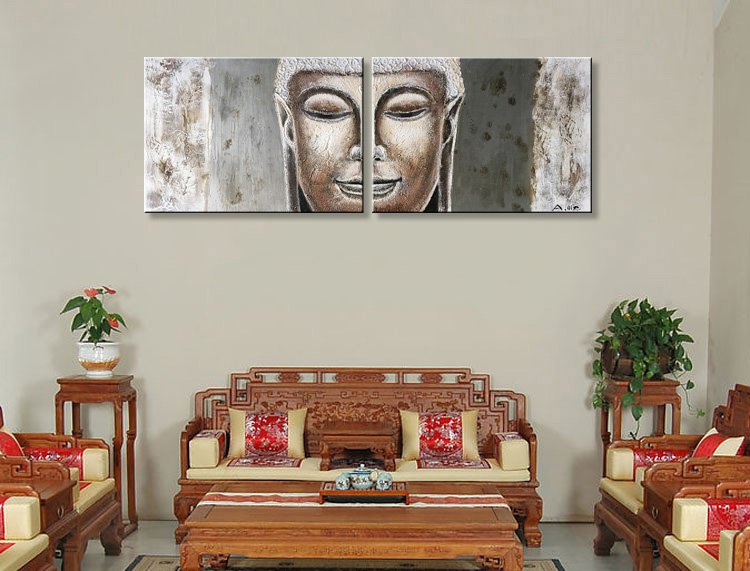 EVERFUN ART Framed Hand-painted Modern Abstract Wall Art Buddha Face Oil Painting On Canvas