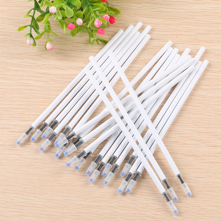 20PCS/Lot White Color Shell Gel Pen Refills 0.5mm Black And Blue Ink Kawai Pattern Office Stationery Supplies 13cm Length