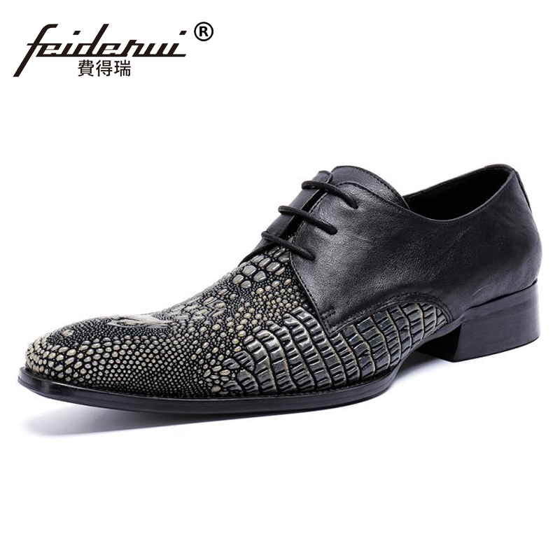 Plus Size Italian Style Pointed Toe Derby Man Wedding Party Footwear Genuine Leather Alligator Handmade Men's Modern Shoes SL459