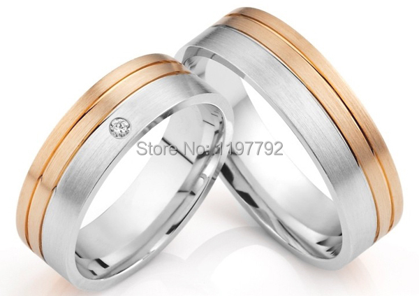 67186229f luxury tailor made rose gold color surgical titanium steel jewelry wedding band  rings sets for men and women