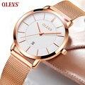 OLEVS, стальные часы из розового золота, женские часы, Топ бренд, Роскошные, Япония, механизм, кварцевые, ультра тонкие, женские часы, календарь, ...