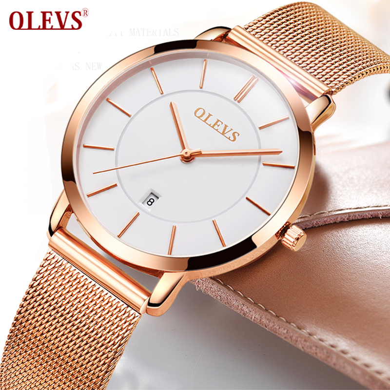 OLEVS acier Rose or montre femmes montres top marque de luxe japon mouvement Quartz Ultra mince dames montre calendrier montre femme