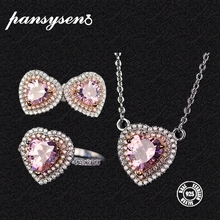 PANSYSEN Luxury Heart Pink Quartz Necklace Earrings Ring Jewelry Sets For Women Real 925 Sterling Silver Wedding Fine