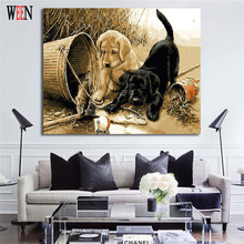 WEEN Couple Dog DIY Painting By Numbers Unique Gift Animal Oil Pictures Coloring Canvas Wall Quadros