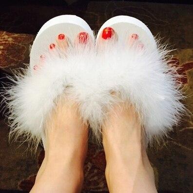 Wedges Sandals Feathers-Slippers Thick Platform Ostrich Flip-Flops Summer Women Fur Sweet
