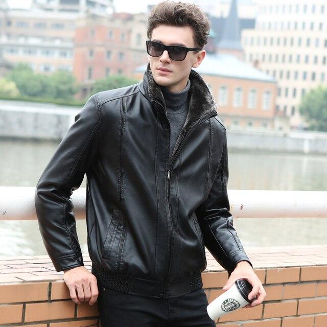 Winter Leather Jacket Men Winter Jackets and Coats Thickening Wool Windbreak Waterproof Warm Skin Lamb Fur Trench Coat Plus Size