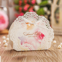 Whtie Deisgn Laser Cut Flower Lace Wedding Candy Boxes PARTY Small Gift Birthday Decorations Festival Sugar