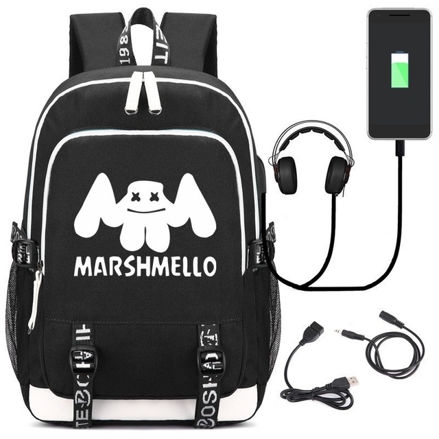 6af16f2211 Marshmello Alone DJ School Bag Casual Cartoon Backpack Student Bag USB  Charge Notebook Daily Backpack Big