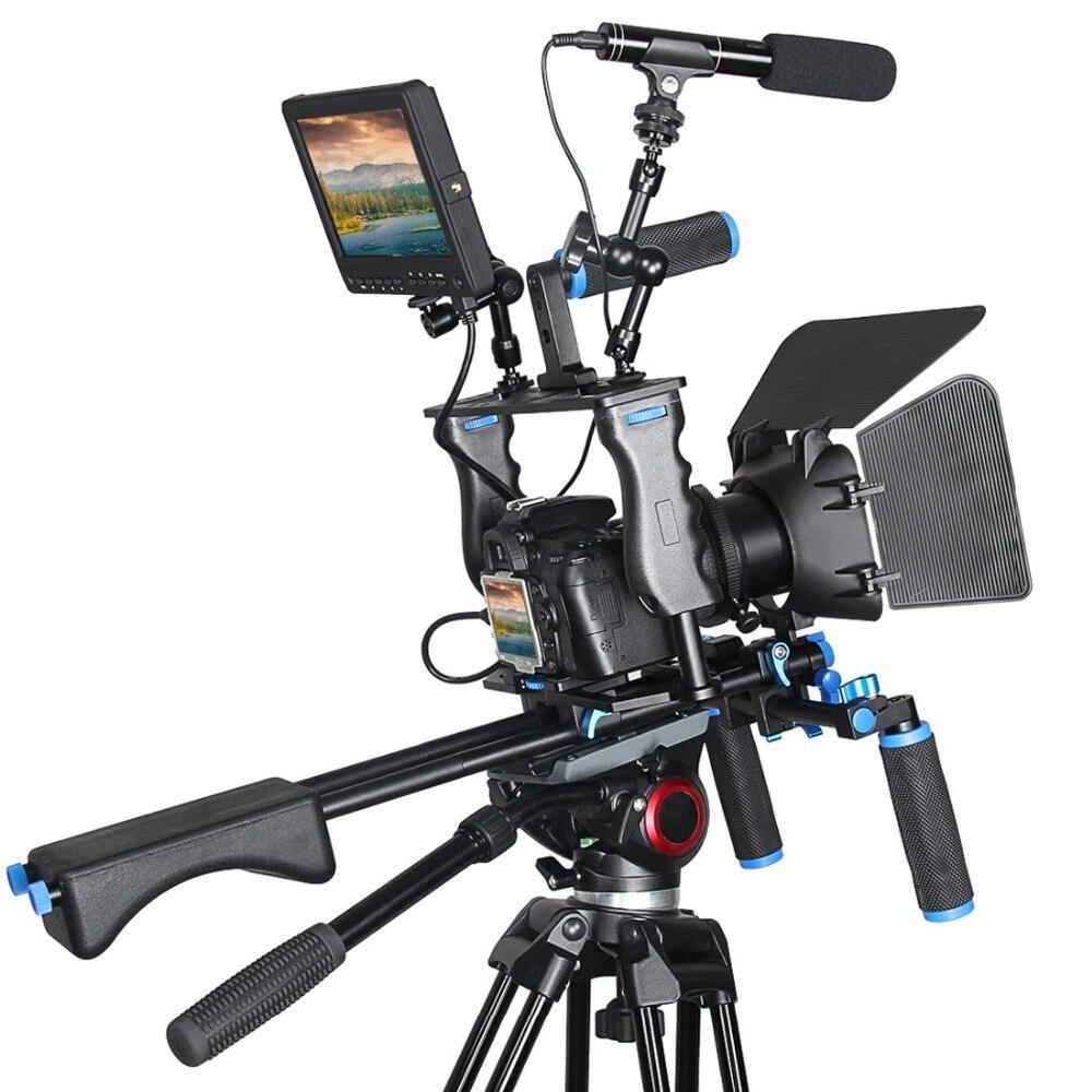 YELANGU profesional DSLR Rig hombro estabilizador cámara de vídeo soporte jaula/caja mate/seguir el enfoque para cámara Canon Nikon Sony - 5