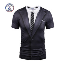 2017  Fashionable New Style Casual Men  Funny Printing 3D T Shirt Short Sleeve  Black Suit Digital Printing Summer Tops