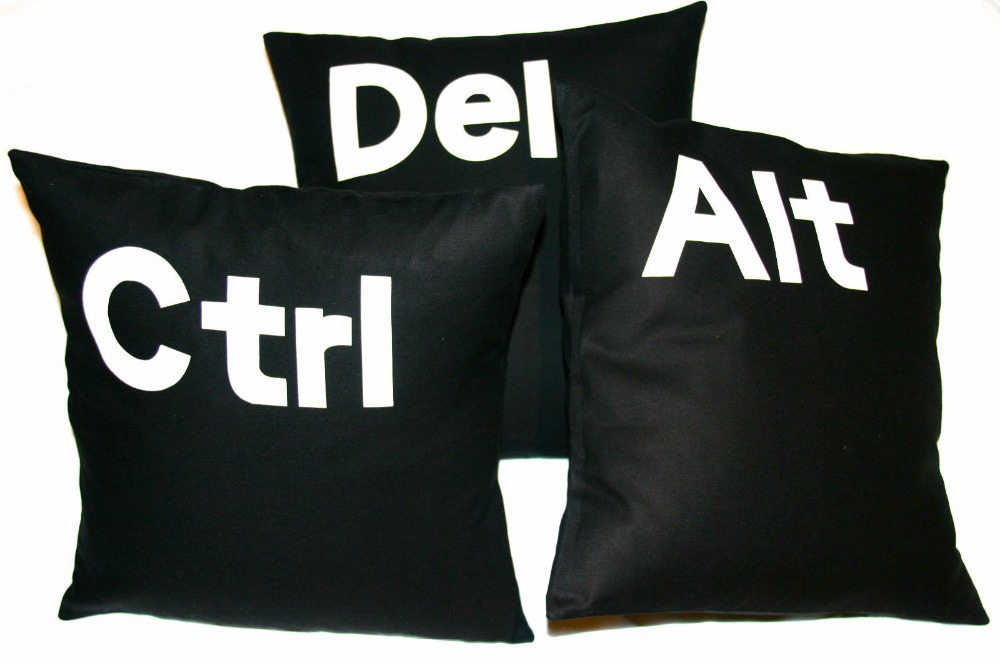 Novelty Letter Cushion Cover Ctrl Alt Del Set of Three Cotton Cushion Covers Black Decorative Sofa