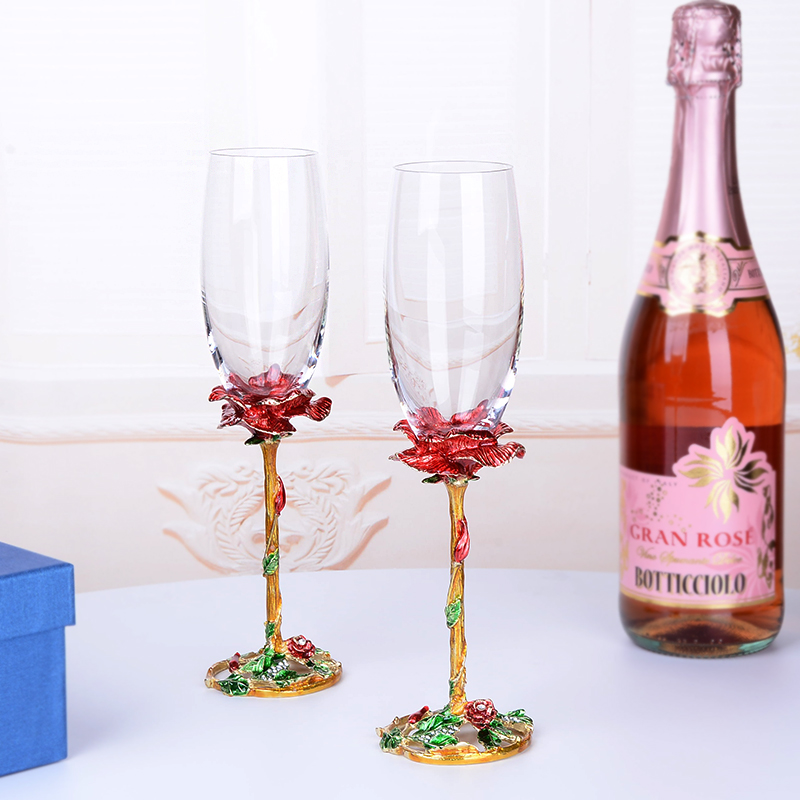 1 Pair Enamel Red wine glass Colorful Lead free Champagne Glass with Gift Box Household Wedding Goblet  Sparkling Wine Glass-in Other Glass from Home & Garden    1