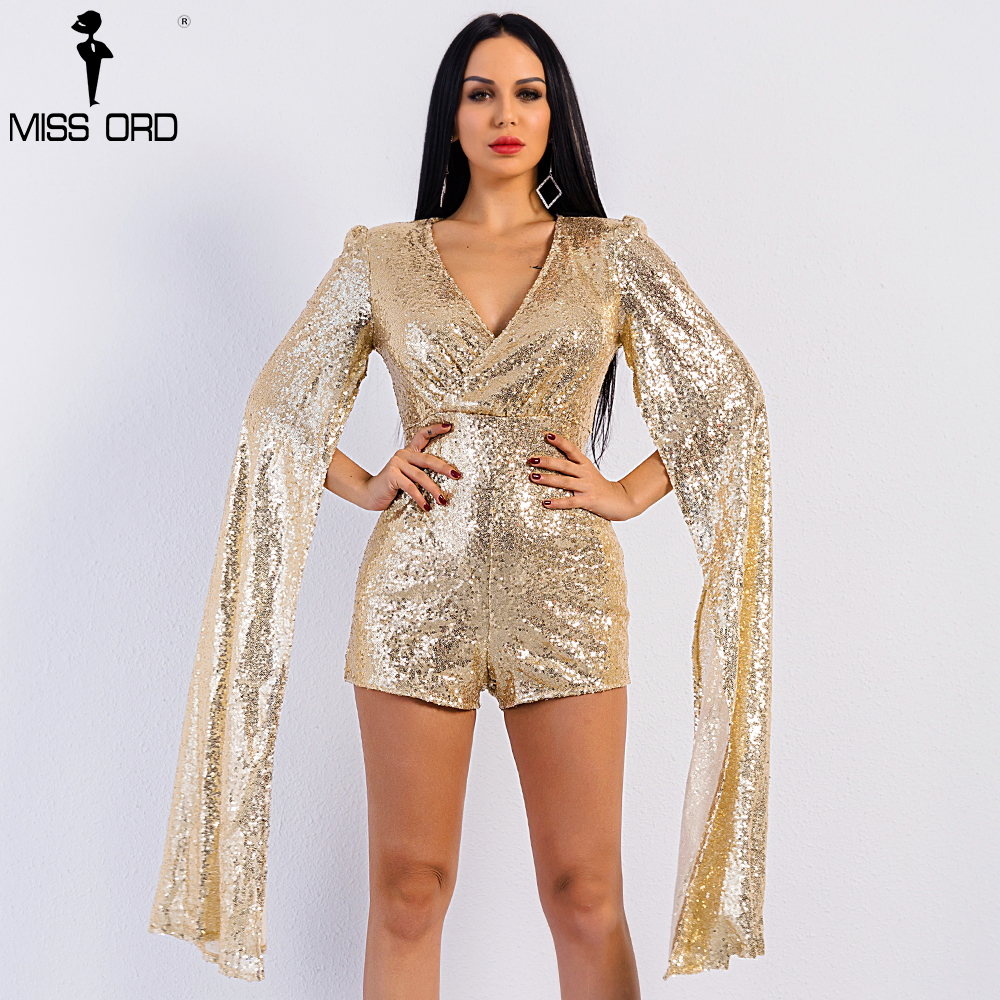 dbb90818bece Free Shipping Missord 2019 Sexy deep v Angel wings sequin playsuit FT5121-1