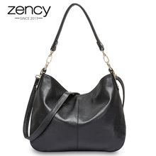 Zency 100% Echtem Leder Qualität A + Frauen Schulter Tasche Mode Schwarz Messenger Crossbody Geldbörse Dame Hobos Grau Tote Handtaschen