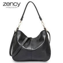Zency 100% 本革品質a + 女性のショルダーバッグのファッション黒メッセンジャークロスボディ財布女性ホーボーグレートートバッグ