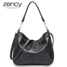 Zency 100% couro genuíno qualidade a + bolsa de ombro feminina moda preto mensageiro crossbody bolsa lady hobos cinza tote bolsas