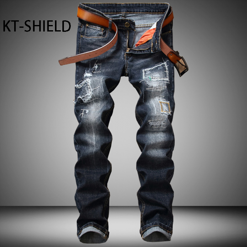 Ripped jeans mens brand Slim denim straight Casual long trousers Cotton fashion multi pocket biker Cargo pants vaqueros hombre 2017 fashion patch jeans men slim straight denim jeans ripped trousers new famous brand biker jeans logo mens zipper jeans 604