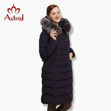 2018 Astrid Inverno das Mulheres para baixo Casaco longo Casaco Parkas Quente para baixo mulheres jaqueta grande Novo Inverno camisola de Algodão bolsos FR-8002