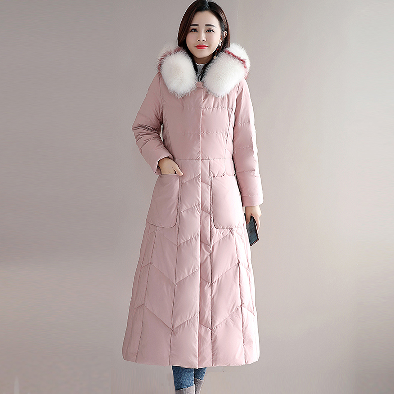 Women Long   Down   Jackets Fashion Big Fur Collar Hooded Casual Thicken Warm   Down   Parkas 90% White Duck   Down     Coats   YP2144